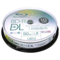 画像1: Lazos L-BDL10P  BD-R DL  6倍速 50GB 10枚 スピンドルケース
